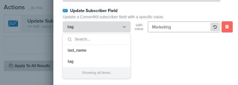 Interact Quiz Actions Update Subscriber Field in ConvertKit